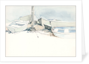 Dinghies at Low Tide notecard by MEMullin