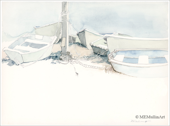 Dinghies at Low Tide print by MEMullin