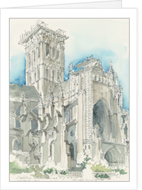 National Cathedral, Entrance above the Bishop's Garden notecard by MEMullinArt