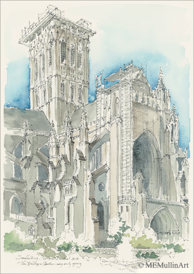 National Cathedral, Entrance above the Bishop's Garden print by MEMullinArt