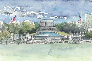 The National Mall. WWII Memorial to the Lincoln Memorial print by MEMullin