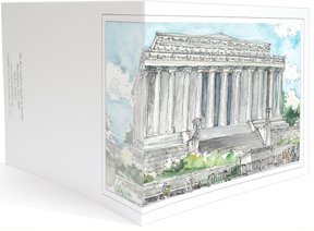 The Lincoln Memorial wraparoung notecard by MEMullin